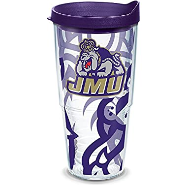 Tervis 1289658 James Madison Dukes Tumbler with Wrap and Royal Purple Lid, 24oz, Clear