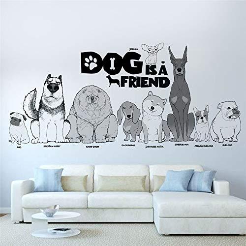 Mooie hond is een vriend muur Stickers Home Decor Woonkamer huisdier ziekenhuis venster Cartoon dier muur Decals PVC muurschildering Art Poster