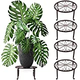 4 Packs Metal Plant Stand with Saucer for Outdoor Plant Stand with Indoor Plant...