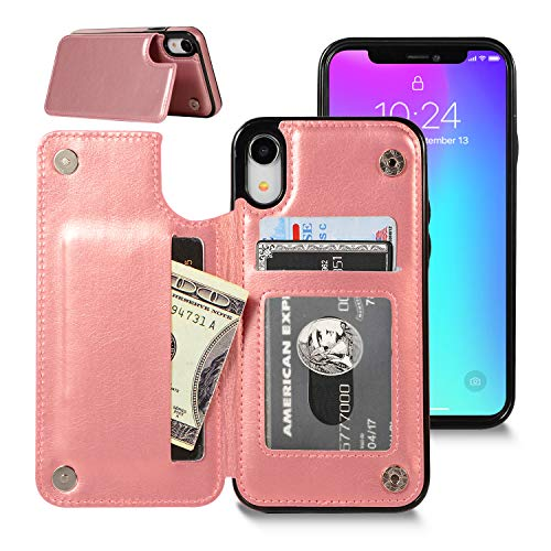 iPhone XR Wallet Case, iPhone XR Case with Credit Card Holder, Shuyo Premium Leather Kickstand Durable Shockproof Protective Cover for iPhone XR (6.1 inch) - Rose Gold