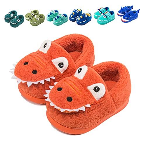 Fadezar Zapatillas De Estar por Casa para Niñas Niños Invierno Pantuflas Animales Antideslizantes Cálido Slippers 18 Naranja EU 27/28 (Tamaño de la etiqueta180)