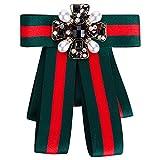 Wantschun Damen Schleifenbrosche Streifen Strass Perle Schmuckbrosche Kleid Blusen Brosche Design B: Rot+Grün