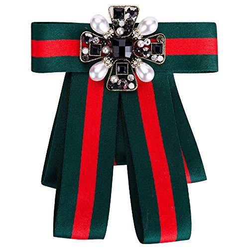 Wantschun Damen Schleifenbrosche Streifen Strass Perle Schmuckbrosche Kleid Blusen Brosche Design B: Rot+Grn