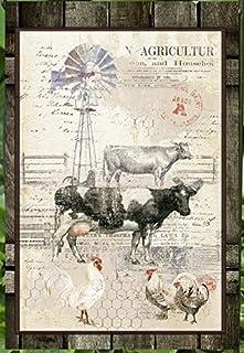Flags Galore Decor & More Farm, Weathervane, Cows, Chickens, Collage Garden Flag