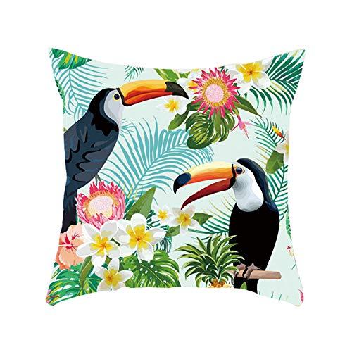 Amesii Bonita funda de cojín cuadrada con diseño de hojas de tucán para decoración del hogar, sofá, cafetería, 3 unidades
