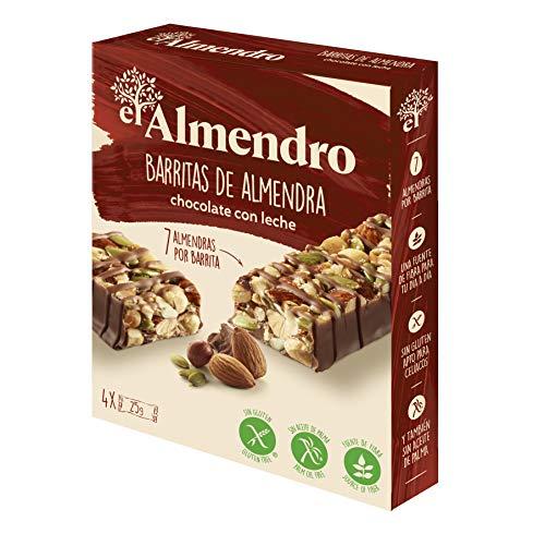 El Almendro - Barritas de Almendra y Chocolate con Leche - 4x25 gr - Sin Gluten - Sin Aceite de Palma - Alto Contenido en Fibra