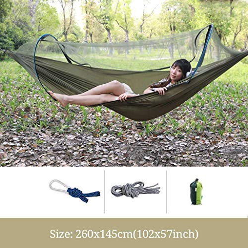 LUNAH Single hammock With Mosquito nets, Lightweight Parachute Camping Hammock With Carry Bag Hooks & Carabiners for Indoor Outdoor tourism Hammock-Army Green-Single