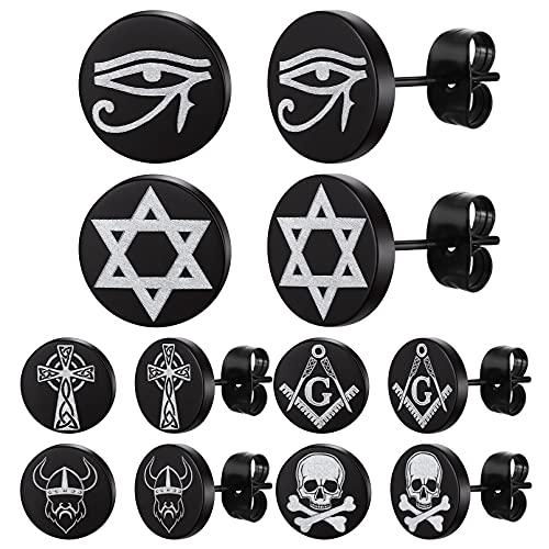 FaithHeart Mens Stud Earrings Viking Odin/Eye of Horus/Celtic Cross/Star of David/Skull Earring Studs Set for Cool Guys