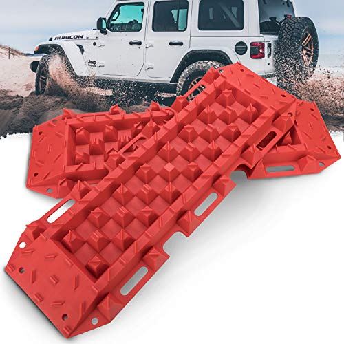BUNKER INDUST Recovery Traction Boards Tracks Traction Mat for Off-Road 4X4 Mud, Sand, & Snow-2 Pcs Red Track Tire Ladder