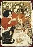 Panneau métal publicitaire vintage de la France des chocolats et des thès 25,4 x 20,3 cm
