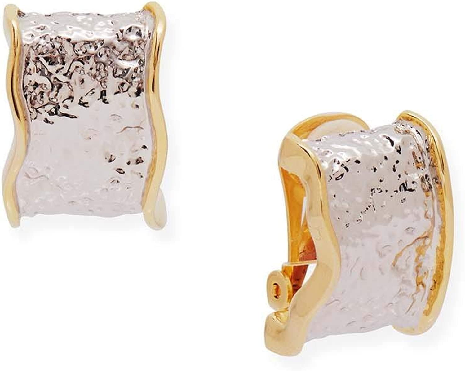 Misook Two-Tone Clip On Earrings with Hammered Ripple Design