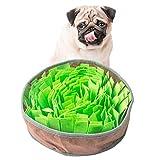 AIPINQI Langsames Fressnapf, Haustier-Schnüffelmatte für Hunde, Training, Futtersuche, Schnüffelunterlage, interaktives Futterspielzeug für Katzen, Hunde, tragbar, Reisen, für Stressabbau, Grün