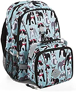 Fit & Fresh Backpack for Kids & Teens with Matching Insulated Lunch Bag, for School and Sports, Pug Life