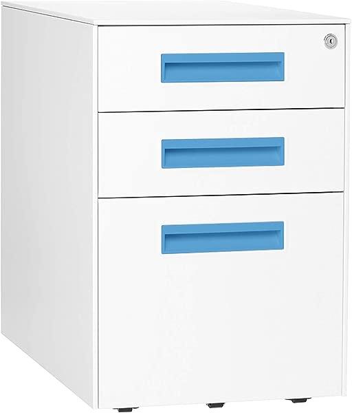 Stockpile Square Mobile 3 Drawer File Cabinet White Bright Blue