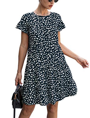 KIRUNDO 2020 Summer Women's Ruffle Mini Dress Short Sleeves Leopard Floral Round Neck Loose Pleated Dress (Small, Navy)
