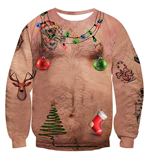 Idgreatim Unisex Funny Chest Hair Print Long Sleeve Xmas Gift Pullover Ugly Christmas Sweatshirt Sweater Dress XXL
