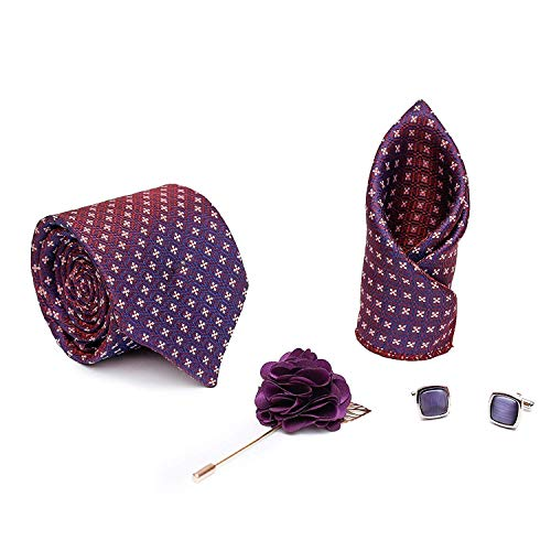 Axlon Men Formal/Casual Jacquard Neck Tie Pocket Square Accessory Gift Set with Cufflinks and Brooch Pin – Purple (Free Size)