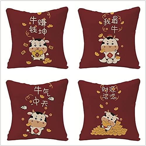 Fundas de Cojín Juego de 4, Animal Rojo Funda de Almohada Lino de algodón con Cremallera Invisible Cojín Cuadrado, para Funda de Cojines para Sala de Estar Sofás Decorativa 45x45cm(18x18in)