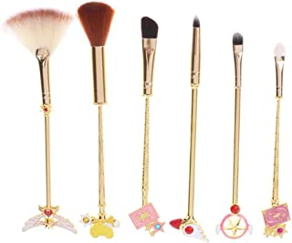Makeup Brushes Kit 6pcs Beautiful Gilrl Warrior Makeup Brush Foundation Blending Blush Eyeshadow Face Powder Eyeliner Sailor Moon Brush Makeup Magic Wand Soft Brushes Make Up Tool for Girls Women
