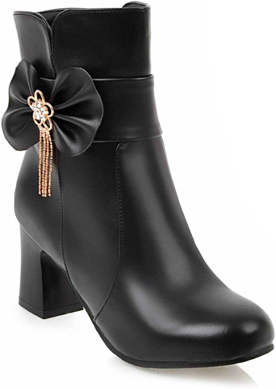BalaMasa Womens Zipper Low-Heel Solid Bows Closed-Toe Chunky Heels Black Urethane Boots ABL09572 - 7 B(M) US