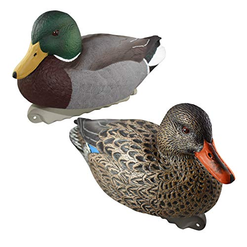 Cupped Waterfowl Finishing Mallards Duck Decoys | Extremely Realistic 12-Pack of Mallard & Hen Floater Duck Decoys with Weighted Keels
