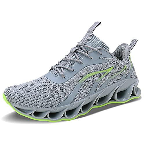 Men Athletic Shoes Grey Mesh Blade Running Walking Sneakers, 10