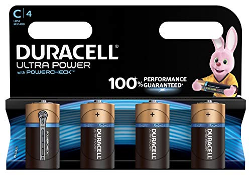 Duracell Ultra Power Alkaline C Batterien, 4er Pack