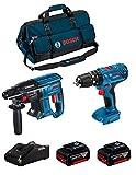 BOSCH Kit 18V BK206BAG (Martillo Perforador GBH 18V-21 + Taladro Percutor GSB 18V-21 + 2 Baterías de 4,0 Ah + Cargador + Bolsa)