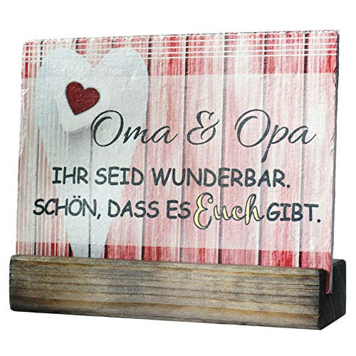 Oma & Opa Geschenke Schiefertafel 20x15 cm groß Bedruckt Herz rot VF
