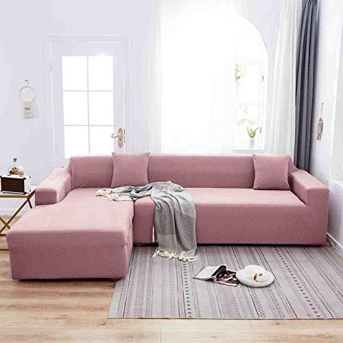 Cojín de sofá Antideslizante Minimalista escandinavo, Funda de sofá de celosía elástica con Todo Incluido, Suministros de sofá Asiento Doble Rosa romántico 145 * 185 cm