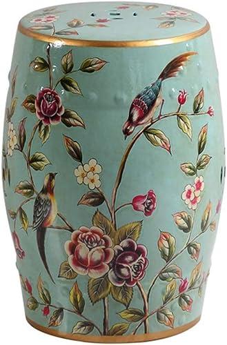 YQS Keramik Hocker Fu ake-Up Stuhl Blaume Stand Blaume Vogel Muster Trommel Hocker Handwerk Schlafzimmer Gartendekoration