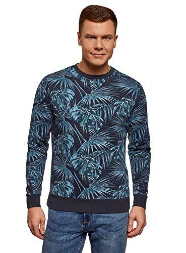 oodji Ultra Herren Bedrucktes Sweatshirt mit Rundem Ausschnitt, Blau, DE 52-54 / L