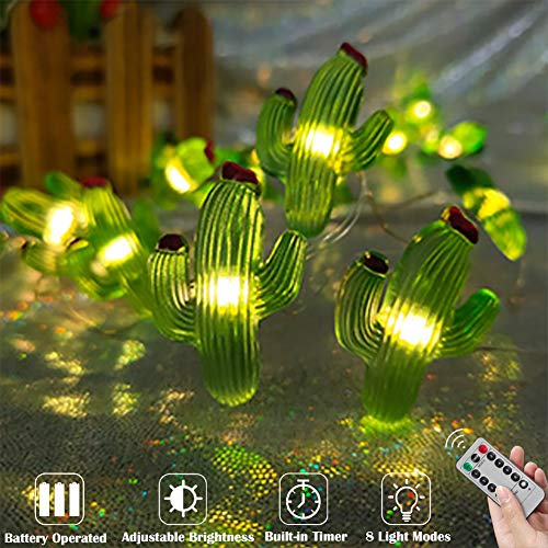 Grandhome Cactus Decor String Lights, Cactus Ornament Fairy Lights Battery Powered, 10ft 30LED String Lights Warm White, 8 Modes with Remote for Tropical Themed Bedroom Wedding Home Party Decoration