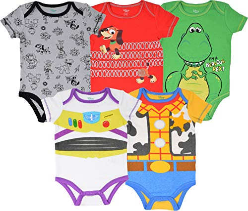 Disney Pixar Toy Story Baby Boy 5 Pack Bodysuit Buzz Lightyear Woody Rex Slinky Dog 18M
