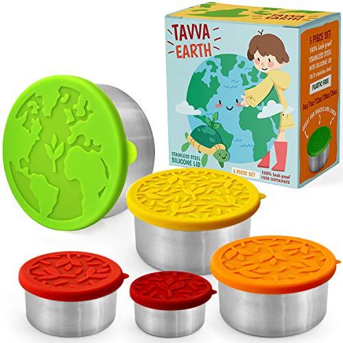 TAVVA Earth Lebensmittelbehälter aus Edelstahl [5er-Set] - Plastikfrei | Silikondeckel | Auslaufsichere Lunchbox für Kleinkinder