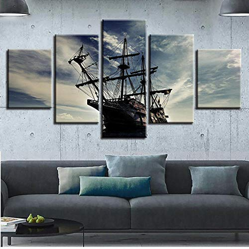 Lienzo Impreso 5 Piezas Cuadro De Tela Casa Decoración Colgando Pintura Cuadros Modernos Impresión De Imagen Óleo Cuadros El Barco Pirata Royal Conquest Sin Marco