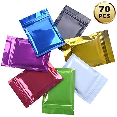 YuChiSX 70 Stück Mylar Druckverschlussbeutel aus Aluminiumfolie,Mylar Zip Lock Aluminiumfolie Taschen,Mylar Folie Flache ZipLock Lebensmittel Aufbewahrungsbeutel,Aluminiumfolie Verpackung Taschen