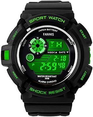 Fanmis Mens Military Multifunction Digital LED Watch Electronic Waterproof Alarm Quartz Sports Watch (Green)