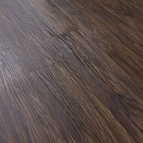 [neu.haus] PVC Bodenbelag Vinyl Gefühlsecht Selbstklebend 3,92m² Dielen Laminat Eiche Dunkel Matt