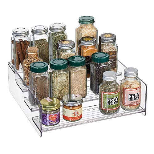 mDesign Plastic Kitchen Spice Bottle Rack Holder, Food Storage Organizer for Cabinet, Cupboard, Pantry, Shelf - Holds Spices, Mason Jars, Baking Supplies, Canned Food - 4 Levels - Clear