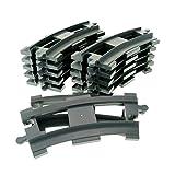 12 x Lego Duplo Schienen gebogen Kurve neu-dunkel grau Schiene Eisenbahn Zug Lok 6378 -