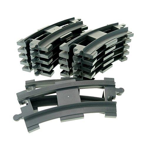 12 x Lego Duplo Schienen gebogen Kurve neu-dunkel grau Schiene Eisenbahn Zug Lok 6378