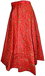 FEMEZONE Women's Brocade Silk Zari Work Ethnic Traditional Lehenga/Skirt (FEM20191801-04, Red, Free Size)