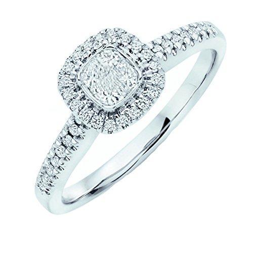 Anello di fidanzamento in oro bianco, con aureola di diamanti 0,5carati, taglio princess, oro bianco, 58 (18.5), cod. ENG0103.11