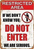 警告 制限エリアなし ビンテージ スタイル メタルサイン アイアン ペインティング 屋内 & 屋外 ホーム バー コーヒー キッチン 壁の装飾 8 × 12 インチ