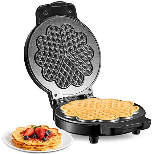 Kealive Gofreras con Revestimiento Antiadherente, Waffle para Gofres en Forma de Corazón Clásica, Grasa Tiene una Hendidura, 17 cm de Diámetro