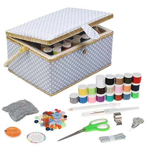 Large Sewing Basket with Kit Accessories Sewing Box Organizer with Supplies DIY Sewing Kits for Adults, Blue Polka Dots