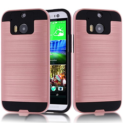 HTC One M8 Case,HTC M8 Case,Kmall Metal Brushed Texture Slim Impact Resistant Heavy Duty Hybrid Dual Layer Full-Body Shockproof Shock-Absorption Protective Cover Skin Shell for HTC One M8 [Rose Gold]