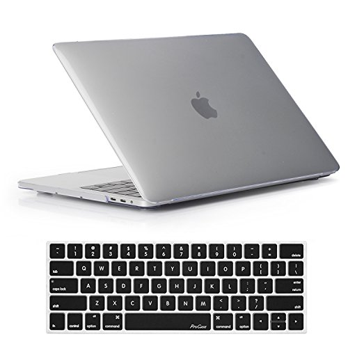 ProCase MacBook Pro 13 Case 2019 2018 2017 2016 Release A2159 A1989 A1706 A1708, Hard Case Shell Cover and Keyboard Skin Cover for Apple MacBook Pro 13 Inch with/Without Touch Bar & Touch ID –Crystal