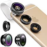 Neewer 3-in-1 Clip-on Lens Kit for Android Tablets,ipad,iphone,Samsung Galaxy and other Smartphones,Included:180 Degree